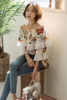 Picture of By SECRET LABEL | Flower Frill Off Shoulder Blouse #White