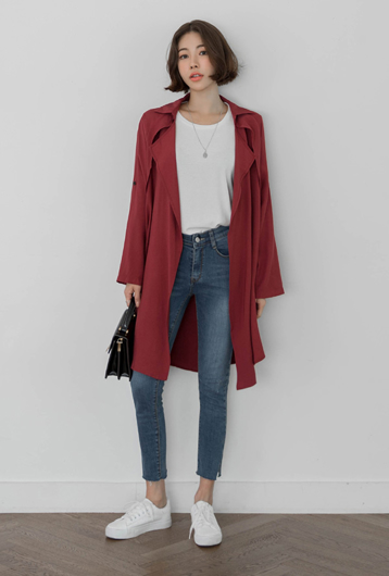 Picture of By SECRET LABEL   Natural No Bottons Jacket #Dark Red
