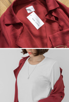 Picture of By SECRET LABEL | Natural No Bottons Jacket #Dark Red