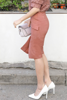 Picture of By SECRET LABEL | Bottoned Unbalanced Slit Skirt #Dark Pink