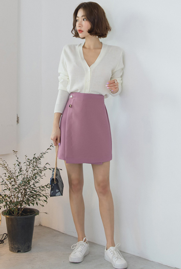 Picture of By SECRET LABEL | A Shape Line Pearl Wrap Mini Skirt #Dark Pink