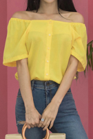 Picture of By SECRET LABEL | Banding Off Shoulder Blouse #Yellow