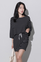 Picture of By SECRET LABEL | Training Loose Fit Black Stripe T-Shirts & Skirt Set #Black Stripe