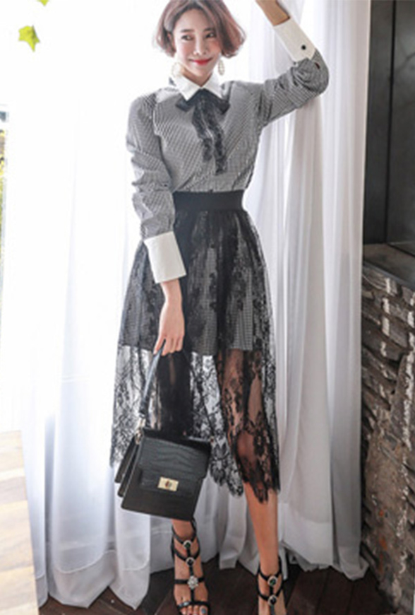 Picture of By FLROOM | Grey Check Shirts & See-thru Skirt Set #Grey Check