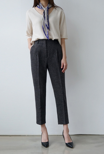 Picture of By BLUE LABEL | Perfect Fit no. 43 Semi Cropped Slacks #Charcoal