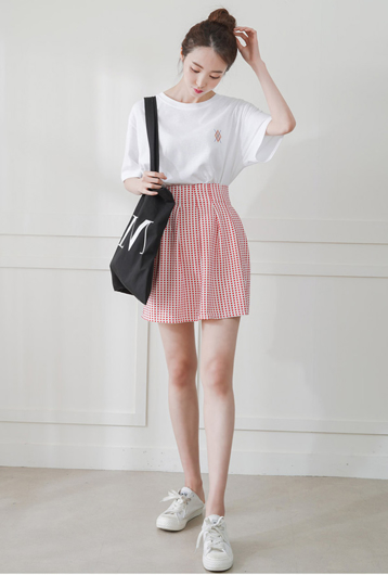 Picture of By DANHAROO | Checked Skirt #Red Polka Dot