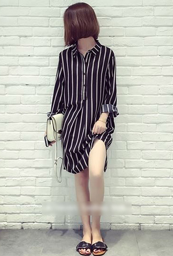 Picture of By DANHAROO | Lael Stripe Long Blouse #Black Stripe
