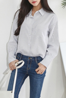 Picture of By DANHAROO   Back Ribbon Stripe Blouse #Off White Stripe
