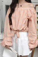 Picture of By DANHAROO | Reuvia Checked Off Shoulder Blouse #Light Orange Check