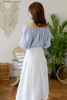 Picture of By DANHAROO   Carina Dot Off Shoulder Blouse #Sky Blue