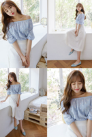 Picture of By DANHAROO | Carina Dot Off Shoulder Blouse #Sky Blue