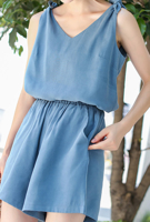 Picture of By DANHAROO | Light Blue Sleeveless & Shorts Set #Off Light Blue