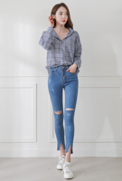 Picture of By DANHAROO | Edge Cut Ripped Straight Pants #Light Blue