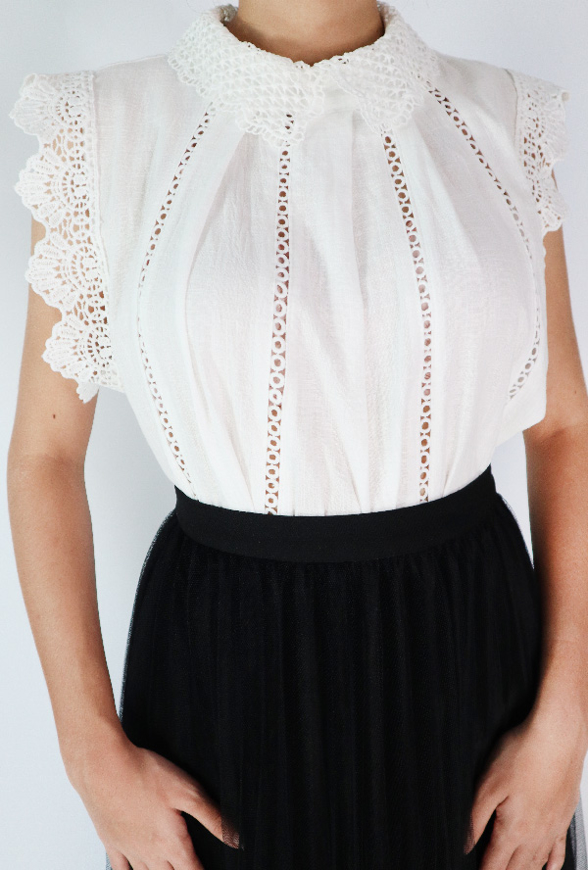 Picture of By FLROOM | Circle Lace Blouse #White