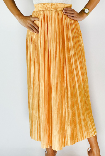 Picture of By FLROOM   Pearl Pleated Skirt #Yellow