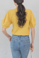 Picture of By SECRET LABEL | Loose Fit Puff Sleeve T-Shirts #Yellow